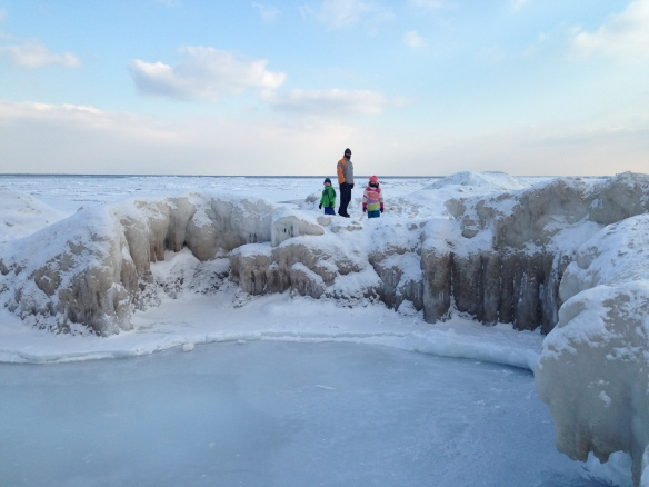 ice formations on the shores of Lake Michigan